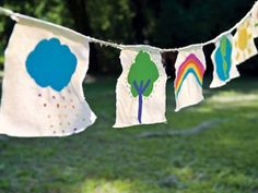 Playful Garlands--Make these with children and put them in the garden.