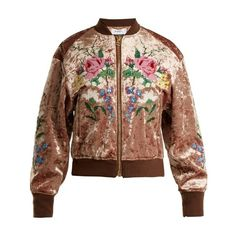 Muveil Floral cross-stitch velvet bomber jacket (79810 RSD) ❤ liked on Polyvore featuring outerwear, jackets, bronze, brown jacket, flight bomber jacket, floral-print bomber jackets, embroidered bomber jacket and metallic bomber jacket