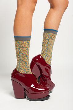 Ayamé Gray Flower Shower Sock #socks $32 #floral #print #designersocks #ayame #ayamé #fancy