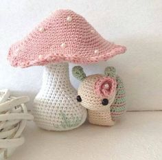 Amigurumi toadstall and snail. (Inspiration).