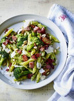 Trust Mary Berry to make pasta with pesto feel like a treat. Add broccoli and bacon with extra pine nuts for a quick but deluxe dinner.