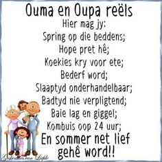 Oupa en Ouma reëls Afrikaanse Quotes, Kids Poems, Dad Quotes, Good Morning Wishes, Quote Posters, Bible Verses, Scriptures, Wise Words, Growing Up