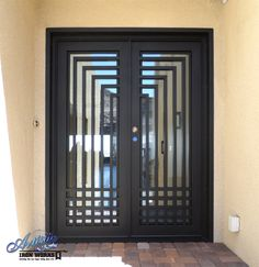 Modern Front Door Gallery All - Artistic Iron Works - Ornamental Wrought Iron Specialists Exterior Doors, Window Grill Design, Wrought Iron Doors, Steel Doors, Metal Doors Design, Metal Door, Wrought Iron Front Door
