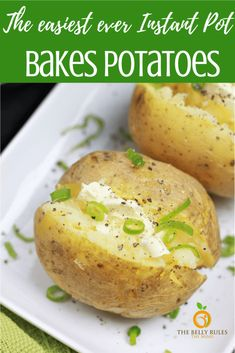 Learn how to make the perfectly tender Instant Pot Baked Potatoes in a fraction of the time taken by the oven. Perfect side dish with any meal. Perfect for family meal preps or parties and potlucks. Instant Pot Pressure Cooker, Pressure Cooker Recipes, Pressure Cooking, Slow Cooker, Instant Pot Veggies, Vegetarian Recipes, Cooking Recipes, Budget Recipes, Vegan Meals