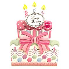 Happy Birthday Cake Lights and Melody Decorative Pop Up Card #Sanrio #Cake #Birthday