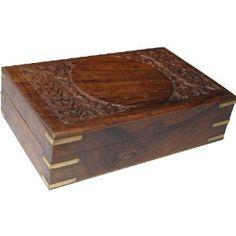 Boîte à bijoux en bois et laiton - Motifs fleurs gravées: ShalinCraft: Amazon.fr: Bijoux