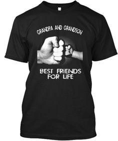 Grandpa Grandson Best Friends T Shirts Black T-Shirt Front