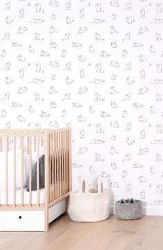 Bunnies in the Country Wallpaper by Lilipinso - from Silk Interiors Wallpaper Australia    Available from www.silkinteirors.com.au #wallpaper #wallpaperforwalls #kidswallpaper #rabbits #bunnies
