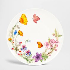 Wildflower Dinner Dish (Set of - Dinnerware - Tableware Pottery Painting, Ceramic Painting, Pottery Art, Ceramic Art, Mirror Painting, China Painting, Beach Rock Art, Floral Wreath Watercolor, Ceramic Tableware
