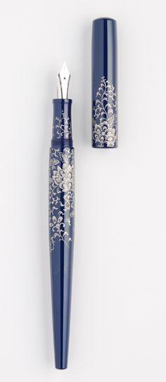 "NAKAYA - Chinkin - Chin Platinum ""Housouge"" desk pen, rhodium plated super extra fine nib"