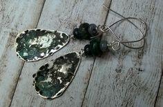 Black turquoise earrings - organic patina earrings - hammared charms gemstones…