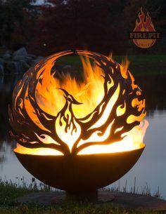 """ Phoenix Rising"" 37"" Fire Pit Sphere by artist Melissa Crisp of The Fire Pit Gallery"
