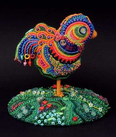 Rosie, the Uncaged Hen, bead embroidered sculpture, large picture, by Robin Atkins, bead artist