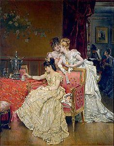 Alfred Stevens, The Cup of Tea, c. 1874–1878. Oil on panel. Musée royal de Mariemont, Morlanwelz.