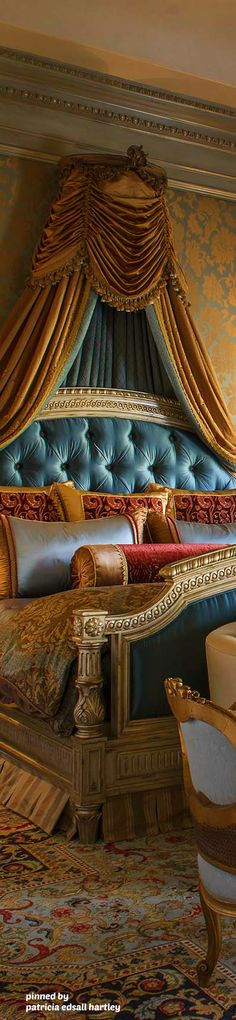 Mediterranean/Tuscan/Old World Decor Art Nouveau, Bed Crown, World Decor, Luxurious Bedrooms, Luxury Bedrooms, Master Bedrooms, Master Suite, Luxury Bedding Sets, Linen Bedding