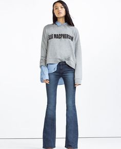Image 1 of MID-RISE FLARED JEANS from Zara