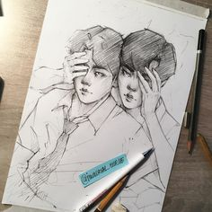 "Polubienia: 73, komentarze: 3 – valeria/унылая драке/ (@immortal_curse) na Instagramie: ""Wip of art for future EXO-CBX artbook ;3"""