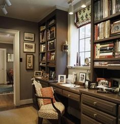 Office Decorating Ideas Love the color of the cabinets, the placement of draws. Taupe cabinets and white walls? More white than taupe to brighten