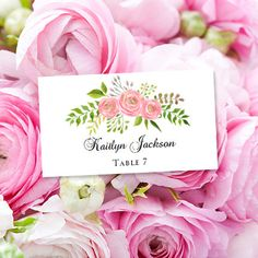 place card escort printable template watercolor floral 7 spring summer or garden wedding editable worddoc avery 5302 compat you print