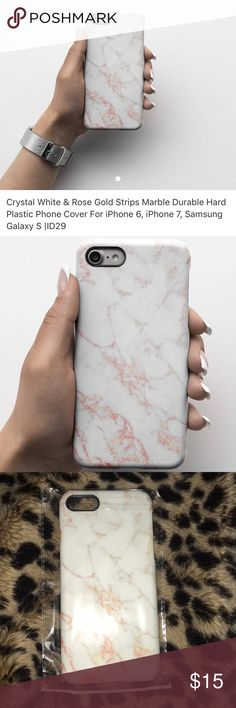 Crystal White&Rose Gold Strips Marble Phone Case Crystal White & Rose Gold Strips Marble Durable Hard Plastic Phone Cover For iPhone 6, iPhone 7, Samsung Galaxy S |ID2• In package, Brand new• All offers considered! Accessories Phone Cases