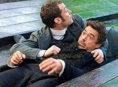 "Watson doing what he does best: saving Holmes' butt. and Jude Law, ""Sherlock Holmes"") Sherlock Holmes Robert Downey, Sherlock Bbc, Robert Downey Jr, Holmes Movie, Literary Characters, Dr Watson, Guy Ritchie, Jude Law, Downey Junior"