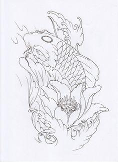 Tattoo Design Book, Koi Tattoo Design, Tattoo Design Drawings, Tattoo Sketches, Japanese Tattoo Art, Japanese Tattoo Designs, Japanese Art, Koi Tattoo Sleeve, Koi Fish Tattoo