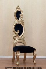 IN STOCK!! BLACK VELVET AND GOLD BAROQUE LOUIS XVI STYLE DECORATOR ACC | Diamond One Decor