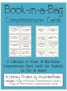 Comprehension cards to be put in take home book bags and used at home while reading