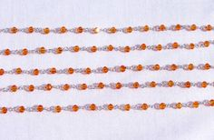 5 Feet Carnelian Hydro 925 Silver Plated 3.50 mm Beads Rosary Beaded Chain. # #Faceted