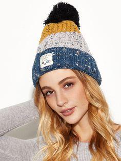 c606bcdcde Shop Blue Colorblock Marled Pom Pom Applique Knit Hat online. SheIn offers  Blue Colorblock Marled