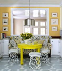 Yellow Table, Contemporary, dining room, Benjamin Moore Inner Glow, House Beautiful