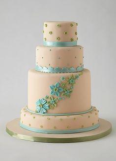 Lulu Scarsdale - Wedding Cakes - fondant by della Fondant Wedding Cakes, Fondant Cakes, Cupcake Cakes, Beautiful Wedding Cakes, Beautiful Cakes, Amazing Cakes, Creative Desserts, Creative Cakes, Royal Icing Flowers