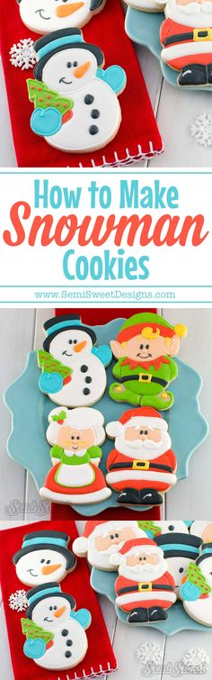 How to Make Snowman Cookies by www.SemiSweetDesigns.com | A detailed tutorial for decorating snowman cookies with royal icing. Recipes and free design template available! Perfect for the winter holiday season.