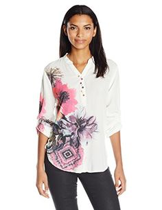 Desigual Womens Butterfly Woven Long Sleeve Blouse White XXL >>> Check out this great product.-It is an affiliate link to Amazon.