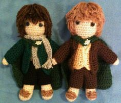Hobbit amigurumi!  From Lord of the Rings, Pippin and Merry