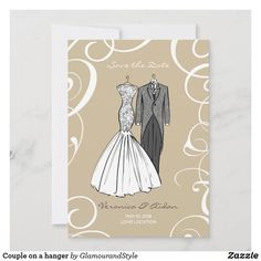 Couple on a hanger save the date Wedding Illustration, Couple Illustration, Save The Date Cards, Wedding Couples, Lace Detail, Wedding Cards, Wedding Styles, Hanger