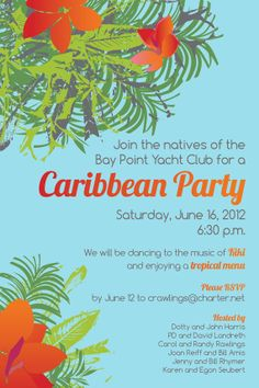 Hibiscus/Caribbean invitation by EmPrintDesigns on Etsy, $25.00 Caribbean Theme Party, Party Invitations, Invite, Engagement Party Planning, Tropical Party, Relief Society, Getting Engaged, Bar Ideas, Hibiscus