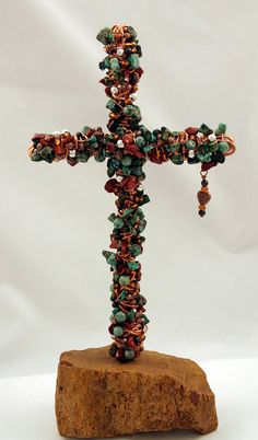 Wire Wrapped beaded cross  Turquoise and by crossesintherocks, $75.00