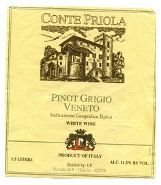 This is a great, inexpensive, Pinot Grigio.  Comes from the same vineyard as Santa Margarette but less than half the price.  Find it at Total Wines.
