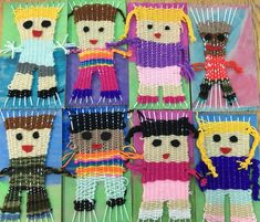 These weavings were my most commented post last year. I did them again with grade 2 and added the braided arms one of you smart teachers suggested. I love this online community of art teachers! Diy Crafts For Kids, Projects For Kids, Art For Kids, Classroom Art Projects, Art Classroom, 5th Grade Art, Grade 2, Weaving For Kids, Religion Catolica