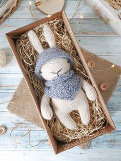 Cute white bunny with the removable hat and scarf. Kids Knitting Patterns, Knitted Doll Patterns, Doll Patterns Free, Knitted Dolls, Crochet Toys, Knitted Bunnies, Knitted Animals, Casting Off Knitting, Little Cotton Rabbits