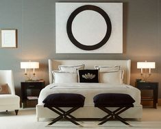 Master Bedroom - Symmetrical with a soft creamy palette and dark espresso accents.  Sophisticated elegance.   (re-pinned photo from Baker Furniture)