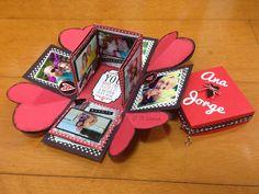 Caixa explosion box romântica (visão da caixa aberta)