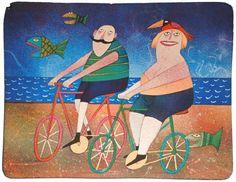 Dutch bicyclists by Adolf Born, via ArtForum