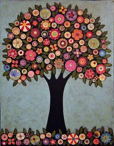 Folk Art Abstract Collage Tree Painting by karlagerard, via Flickr