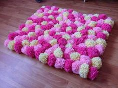 Pink, light pink & white pom pom rug 67 X 55 Cm