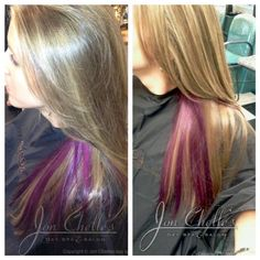 Blonde hair with a purple surprise! Color by Denise Ramos. Vibrant purple peekaboo highlights! #Aveda #Avedacolor
