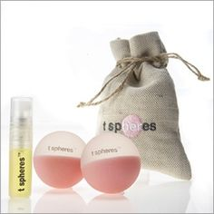 T Spheres Perk Up - A bit of peppermint mixed with grapefruit to improve concentration and circulation for those days and flights that seem endless.   $35.99