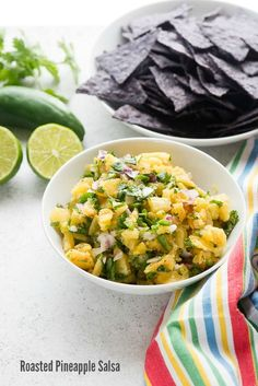 Roasted Pineapple Salsa is easy to make and the perfect combination of sweet and spicy! Great for dipping or topping grilled fish or chicken. Gluten Free Recipes For Dinner, Good Healthy Recipes, New Recipes, Vegetarian Recipes, Amazing Recipes, Easy Recipes, Roasted Pineapple, Pineapple Salsa, Easy Appetizer Recipes