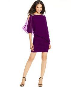 Xscape Petite Embellished Caplet Sheath Dress